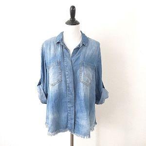 Cloth & Stone High Low Chambray Frayed Shirt